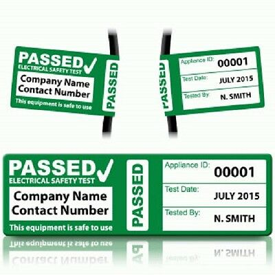 Personalised 'PASS' Cable Wrap PAT Test Labels
