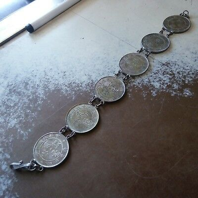China silver bracelete with 20c silver coins of 1919x1,1920x2, 1921x2, 1922x1
