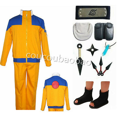 Shippuden Uzumaki 1th Naruto Ninja Men's Cosplay Costume Halloween full set