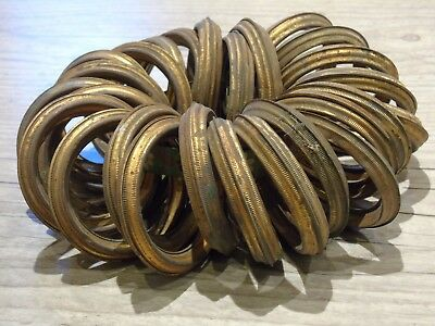 French Vintage Curtain Rings Tolewear Gilt Metal Edge X24 Large Size Estate Find