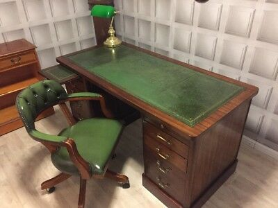 Antique Green Leather Top Writing Desk & Chesterfield Captains Chair FREE UK P&P