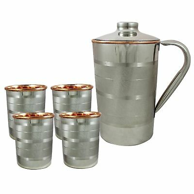 Set of 4, Water Glasses and a Jug Set, Indian Copper Pitcher Drinkware Set, 2 LT