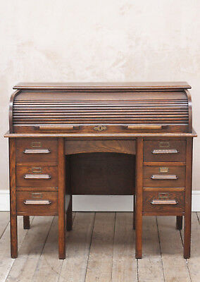 Antique Vintage Mid Century Double Pedestal Roll Top Desk