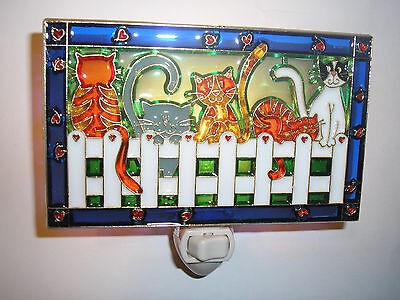 """Stain Glass Style - """" CATS ON A FENCE""""    NIGHT LIGHT"""