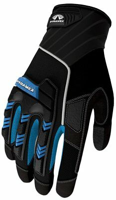 Pyramex Safety GL201 Heavy Duty Impact Work Gloves, Blue, Sizes Small - 2X Large