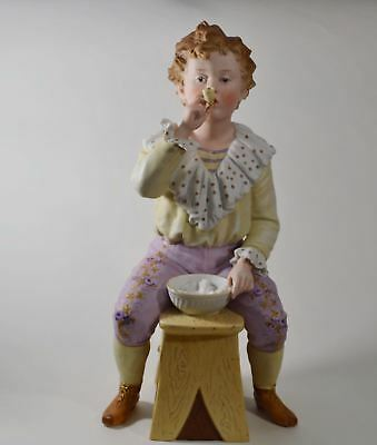 Heubach Boy Blowing Bubbles Rare Bisque German Victorian Figurine 1800's