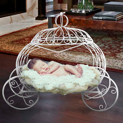 Iron Pumpkin Carriage Basket Photography Prop White For Newborn Baby Xmas Gift