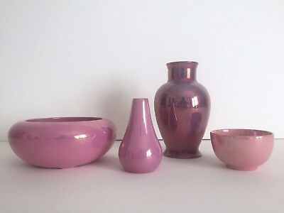 Vintage Rare 1920's Art Deco Pink Lusterware Weller Maling - Collection Of 4Pc