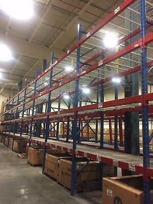 Warehouse Racking - uprights, beams, and wire mesh shelving