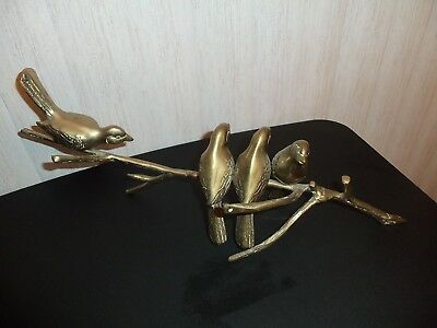 Vintage Solid Brass 4 Birds On A Branch Wall Hanging Sculpture, BEAUTIFUL