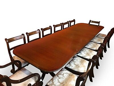 Magnificent Grand Triple ped Regency style mahogany & Satin wood dining set