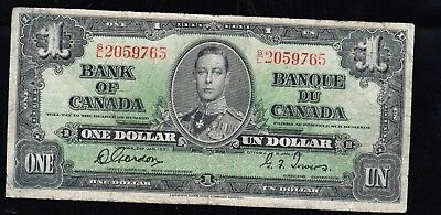 """CANADA banknote ,$1"""" COYNE / TOWERS"""" 1937 year"""
