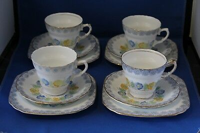 Set Of 4 Sutherland China Trio's Cups And Saucers And Side Plates