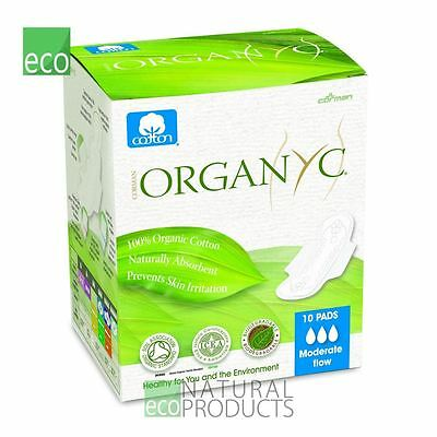 Organyc Organic Cotton Sanitary Pads Moderate Flow Box of 10