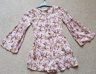 Girls Next Pink Floral Long Sleeve Playsuit Age 8 years Flared Sleeves