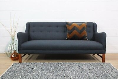 Restored Original Ole Wanscher Danish Early Midcentury Three Seater Sofa in Wool