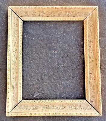 "Antique Old Floral Ornate Plater Wood Art Picture Painting Frame 15"" x 12 1/2"""