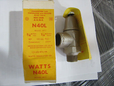 "Watts 40L Relief Valve 3/4"" 210*F Model M10 NEW!!! in Factory Box Free Shipping"