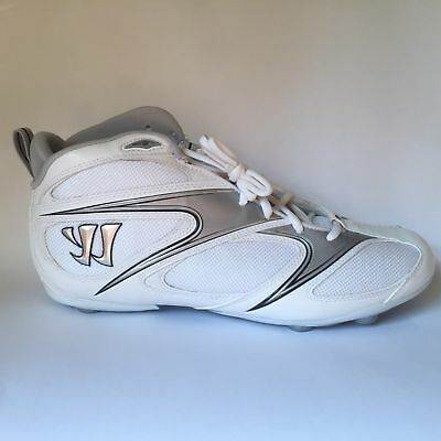 WARRIOR Mens Lacrosse Cleats Detachable Mid New WMBD4MWT White Silver Size 11.5
