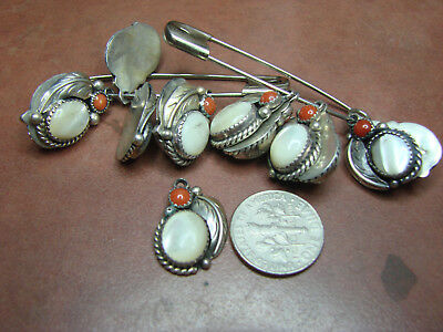 1 Native American Vintage New Old Stock Sterling Coral & M.o.p  Pendent  Hv 13