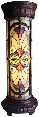 """30"""" Mission Arts & Crafts Tiffany Style Stained Cut Glass Pedestal Floor Lamp"""