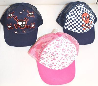 JOB LOT x 12 Asstd Kids Skull Crossbones Baseball Trucker Hats Age 6-10 Yrs A113