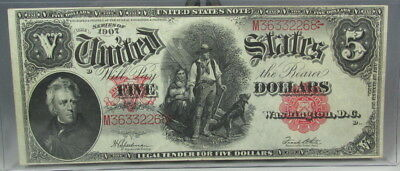Us 1907 Woodchopper $5 Dollar Large Size Note Legal Tender Spellman White