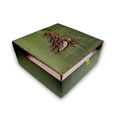 Hand made Christmas Decorative MDF Wood Box Pasted with Silk Satin Fabric