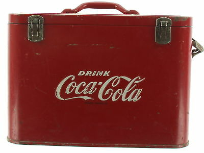 Antique COCA-COLA Red Metal Airline Cooler With Bottle Opener