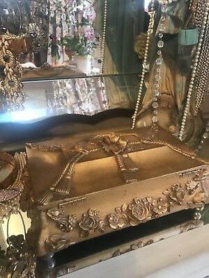 Chic Antique Gilt Jewelery Box Relief Gesso Barbola Roses Swags Wreath ornate LG
