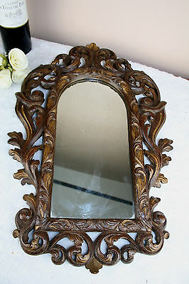 German Wood carved black forest design Wall mirror 1950s