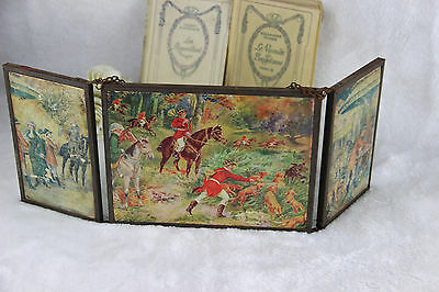 Antique French 1900 Barber mirror tryptich open/fold system chromos hunt dogs