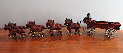 Vintage Cast Iron Budweiser Clydesdale 8 Horse Beer Wagon 25 Wood Barrels Dog