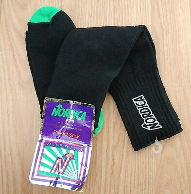 90s Nordica Ski Worsted Wool Socks Thick Vintage Vtg USA Made Pro Fit Neon