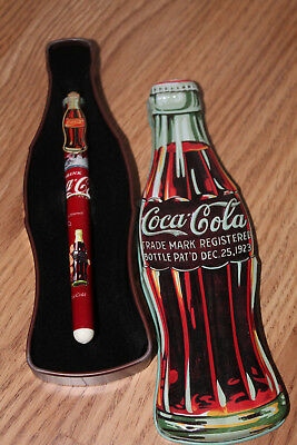 Coca Cola Collectable Pen with Coke Bottle Shaped Tin Case, 1996