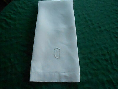 Antique Large White Damask Towel With A Hand Embroidered Monogram, Circa1920