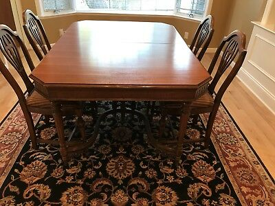 Antique Dining Room Set - Table, Six Chairs, Sideboard, Curio, Table Leaves/Pads