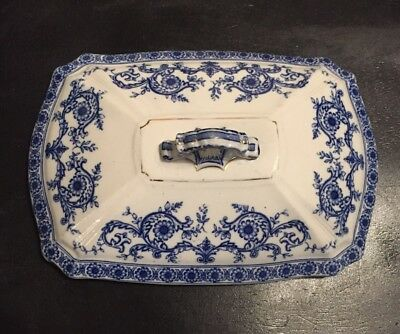 White Ironstone Tureen Lid, Blue Details, Gold Trim