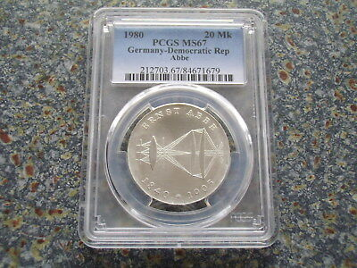 Germany East GDR 20 Mark BU silver 1980 Abbe Physicist PCGS MS 67 grading