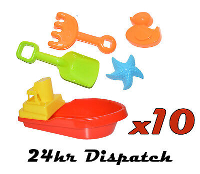 10 X Large Red Boat & Sand Sets Floating Childrens Kid Bath Tub Time Plastic Toy