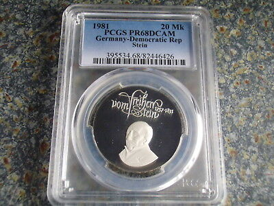 Germany GDR proof 20 Mark 1981 Silver Vom Stein PCGS PR68DCAM commemorative coin