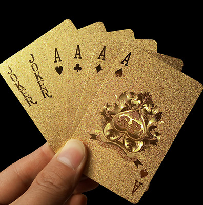 24K Gold Plastic Waterproof Cards Golden Playing Cards Deck gold foil poker