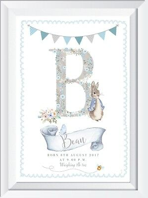 Personalised Peter Rabbit baby SW CRYSTAL name print picture gift  nursery art
