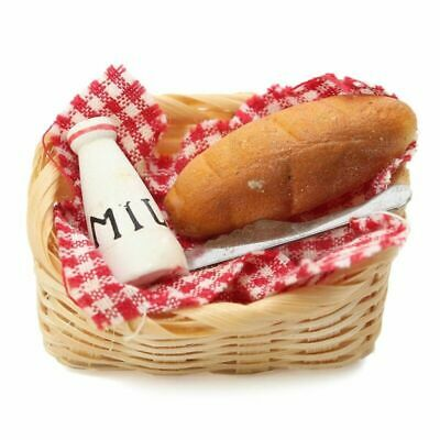 1:12 Scale Dollhouse Mini Food Basket Milk Bread Cute Toy Furniture Decoration