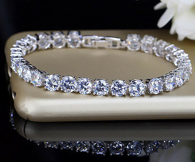 10ct S-Link Tennis Bracelet with Diamonds in 18k White Gold Perfect Finish