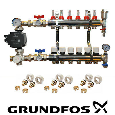 Water Underfloor Heating Manifolds 2 To 8 Ports A Rated Grundfos  Pump Pack Kit