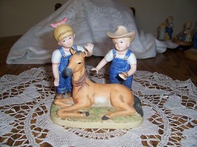 "Two Homoco Denim Days Figures ""barnyard Babies"" One W/horse One W/cow"