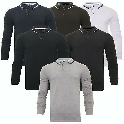 Mens Long Sleeve Polo Shirt Button Down Badminton Golf Casual Top Brave Soul