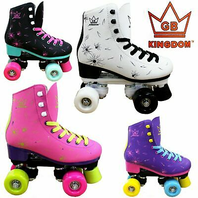 Quad Roller Skates Kingdom GB Venus Retro Disco Girls Women's Derby Roller Boots