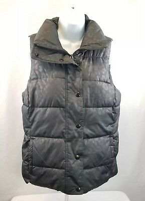 Woman's Old Navy Puffer Vest Size Medium Zip and Snap Dark Grey ☆ FREE Shipping!